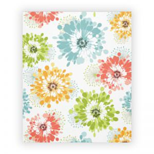 Multi colored poppy flower fleece blanket