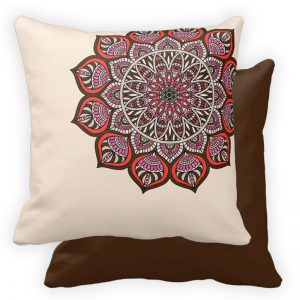 Mendhi Glitter Accented Pattern Throw Pillow - Brown