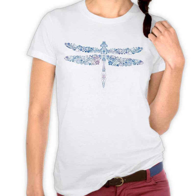 Blue Watercolor Floral Dragonfly T-Shirt