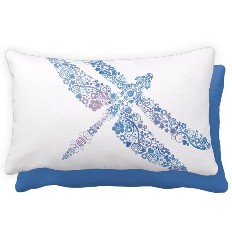 Blue Watercolor Floral Dragonfly Throw Pillow - Lumbar