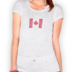 Patriotic Canadian Scribble Flag Burnout T-Shirt