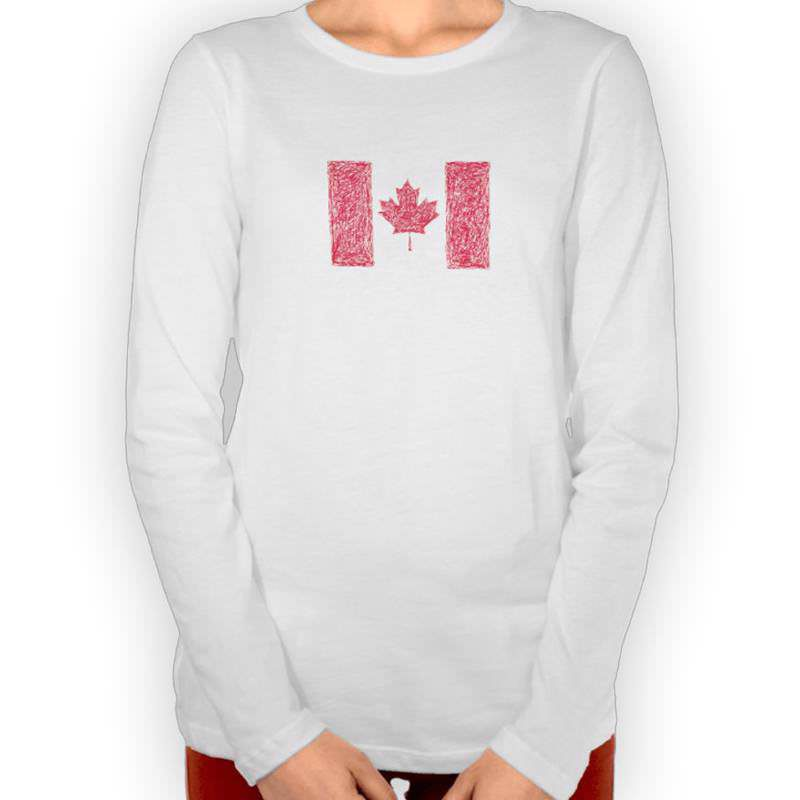 Canadian Scribble Style Flag Long Sleeved T-Shirt