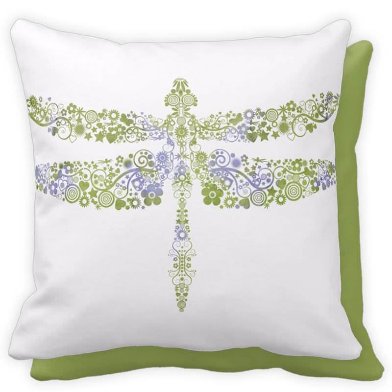 Green & Purple Watercolor Dragonfly Floral Throw Pillow