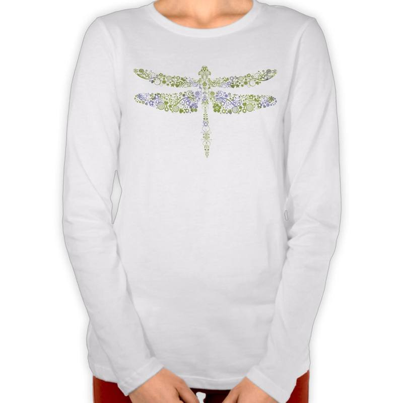 Green & Purple Watercolor Floral Dragonfly T-Shirt
