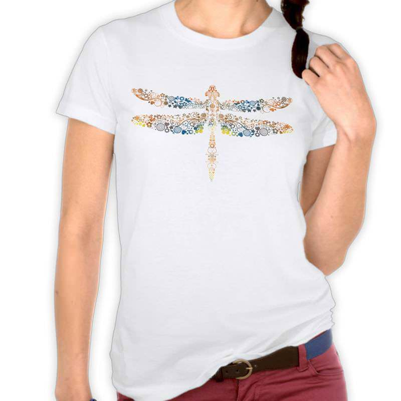Orange & Pink Watercolor Floral Dragonfly T-Shirt