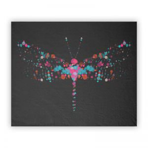 Pink & Blank Dragonfly Bubbles Fleece Blanket