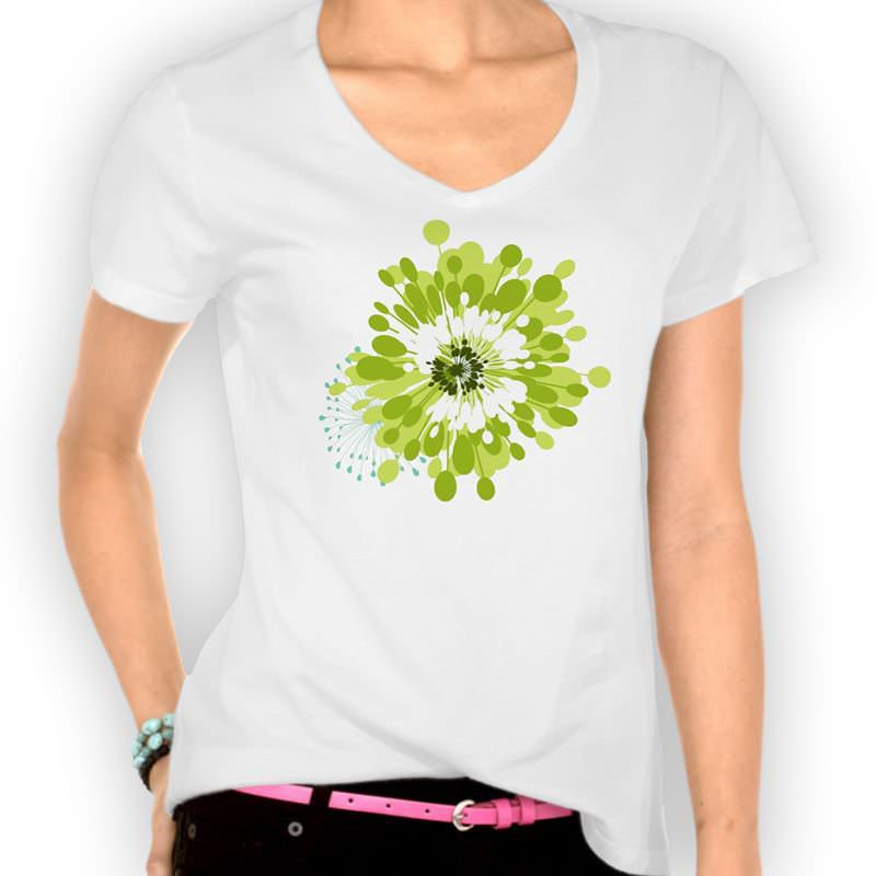 poppy-v-neck-ladies-tee-green