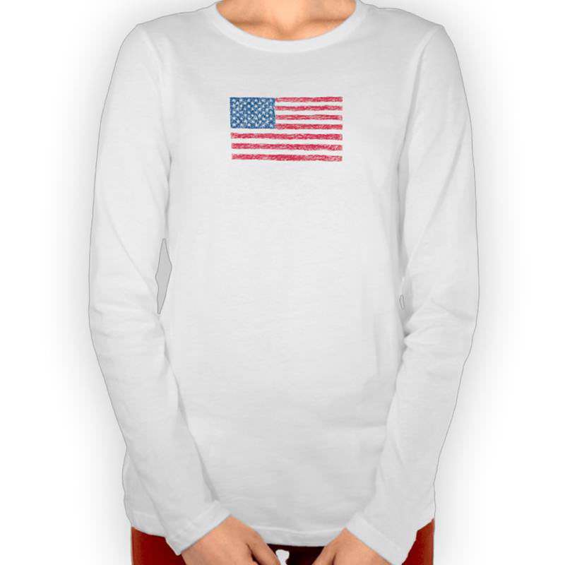 Patriotic Scribble Style US Flag T-Shirt