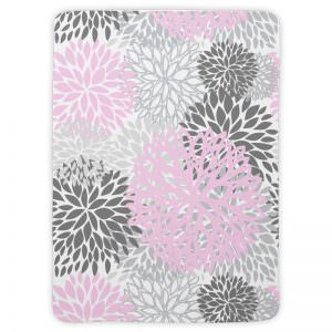 Pink & Grey Double-Sided Flower Blanket
