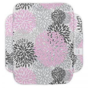 Pink & Grey Flower Burp Cloth