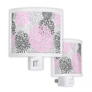 Pink & Grey Floral Night Light