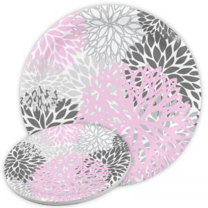 Pink & Grey Floral Paper Plates