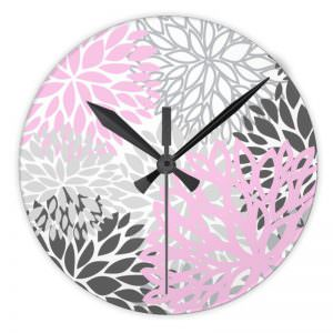 Pink & Grey flower Wall Clock