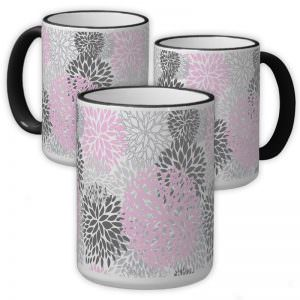 Pink & Grey Flower 15oz. Ringer Mug