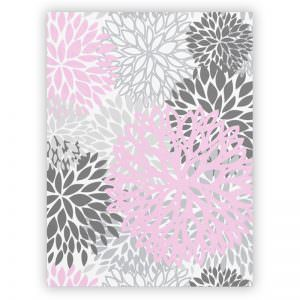 Pink & Grey Flower Plush Blanket