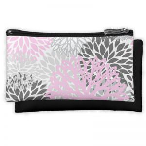 Pink & Grey Flower Cosmetic & Travel Pouches