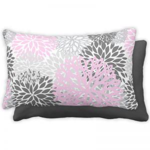 Pink & Grey Flower Cotton Throw Pillow