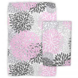 Pink and Grey Flower Dish Towels