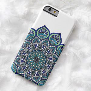blue mendhi mandala pattern phone case