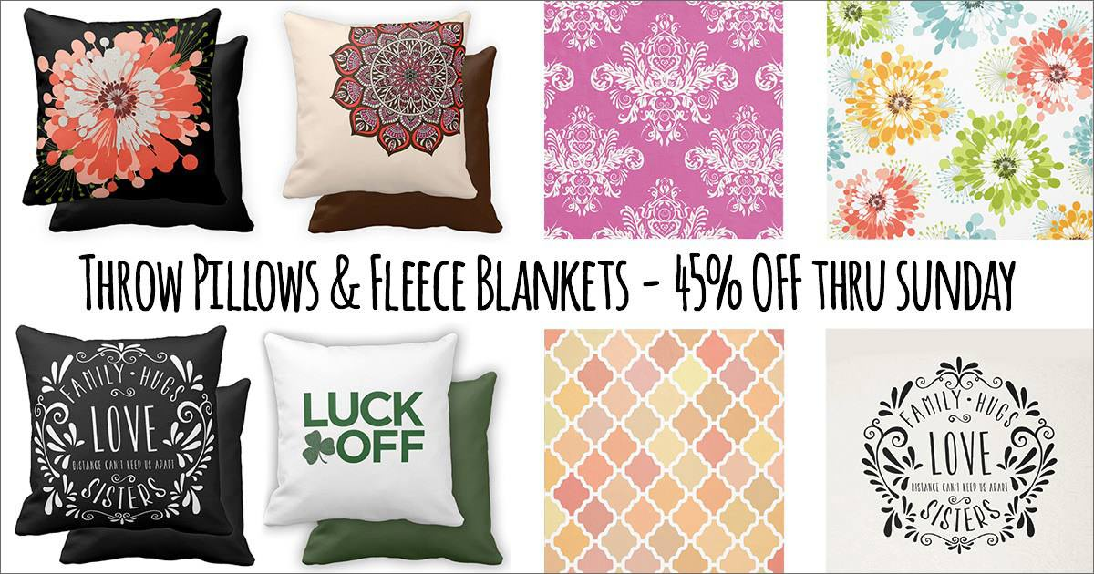 Throw Pillows & Fleece Blankets on Sale