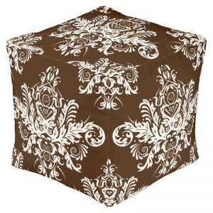 Chocolate Damask Pattern Pouf Ottoman