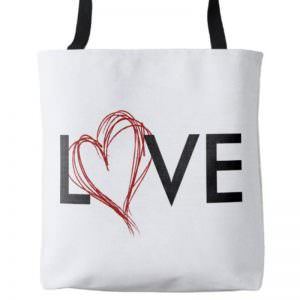 LOVE Scribble Heart Tote - Front